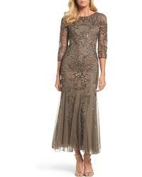 Pisarro Nights Embellished Mesh Gown - Brown