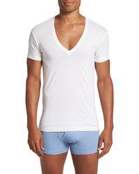 2xist - Slim Fit Pima Cotton Deep V-neck T-shirt - Lyst