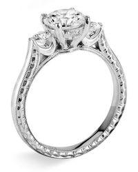 Jack Kelége 'silhouette' Platinum 3-stone Engagement Ring Setting - Metallic