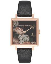 Olivia Burton - Signature Floral Big Square Leather Strap Watch - Lyst