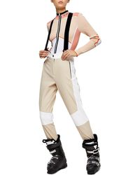 TOPSHOP stone And Ecru Colour Block Ski Pants By Sno - Natural