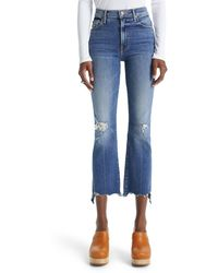 Mother The Insider High Waist Crop Step Chew Hem Jeans - Blue