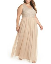 Adrianna Papell - Beaded & Tulle Gown - Lyst