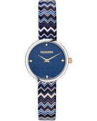 Missoni M1 Joyful Chevron Leather Strap Watch - Blue