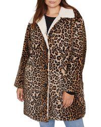Sanctuary - Sierra Print Faux Fur Coat With Fleece Lining - Lyst