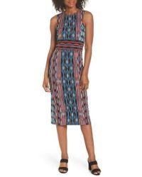 Maggy London - Placed Stripe Midi Sheath Dress - Lyst