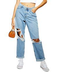 TOPSHOP Super Ripped Bleach Hayden Boyfriend Jeans - Blue