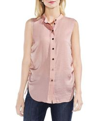 Vince Camuto - Sleeveless Side Drawstring Rumple Blouse - Lyst