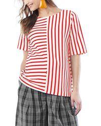 Loyal Hana Ginger Stripe Maternity/nursing Shirt - Red