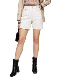 TOPSHOP Straight Leg Denim Shorts - White