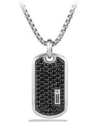 David Yurman Exotic Stone Pavé Tag With Diamonds Or Sapphires - Black