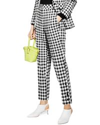 TOPSHOP Petite Gingham Tapered Pants - Multicolour