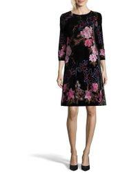 Eci - Embroidered Velvet Shift Dress - Lyst