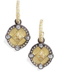 Armenta Old World Shield Diamond Drop Earrings - Metallic