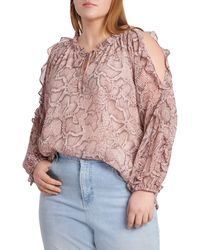 1.STATE 1. State Ruffle Cold-shoulder Georgette Top - Multicolor