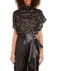 Isabel Marant Sequin Drape Blouse - Black