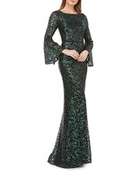 Carmen Marc Valvo - Sequin Embroidered Trumpet Gown - Lyst