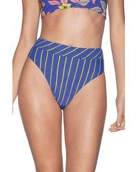 Maaji Lorelei Suzy Q High Waist Reversible Bikini Bottoms - Blue