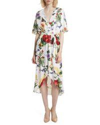 Alice + Olivia - Clarine Floral Wrap Midi Dress - Lyst