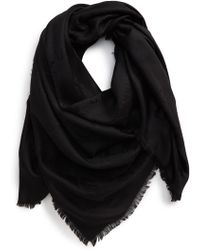 Valentino Grid Logo Jacquard Silk & Wool Shawl - Black