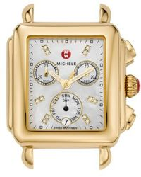 Michele - Deco Diamond Dial Gold Plated Watch Case - Lyst