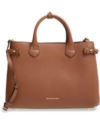 7cdf350aa8ed Lyst - Burberry The Small Alchester In House Check And Leather in Red
