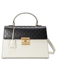 Gucci - Medium Padlock Top Handles Signature Leather Satchel - None - Lyst