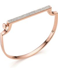 Monica Vinader Signature Thin Diamond Bangle - Metallic