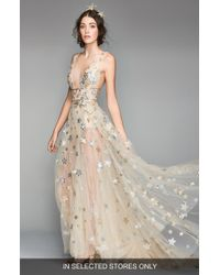 WILLOWBY Orion Tulle & Charmeuse Plunging A-line Gown - Metallic