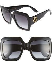 Gucci Oversized Square Sunglasses, Black - Gray