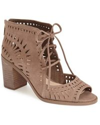 Vince Camuto Tarita Cut-Out Suede Boots - Brown
