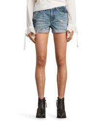 AllSaints - Pam Rose Embroidered Denim Shorts - Lyst