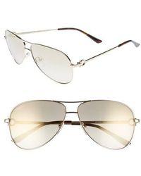 Ferragamo - Gancio 62mm Aviator Sunglasses - Shiny Gold - Lyst