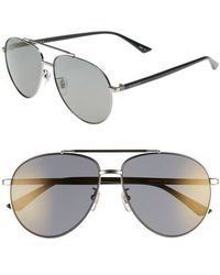 Gucci - 61mm Polarized Aviator Sunglasses - Shiny Ruthenium - Lyst