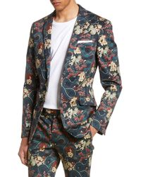 TOPMAN Skinny Fit Japan Print Suit Jacket - Black