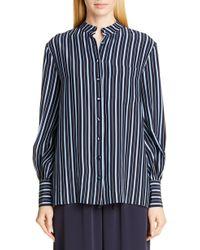 Co. - Band Llar Stripe Silk Shirt - Lyst