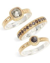 Anna Beck - Grey Sapphire & Pyrite Stack Rings - Lyst