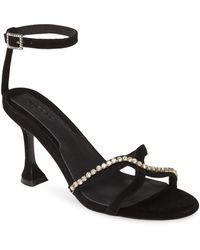 Jaggar Crystal Embellished Ankle Strap Sandal - Black