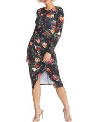 RACHEL Rachel Roy Bret Floral Print Long Sleeve Dress - Black