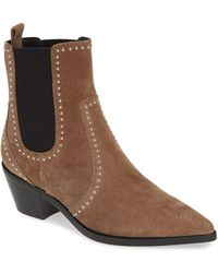 PAIGE Willa Bootie - Taupe Suede Studded - Brown