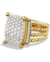 David Yurman 'wheaton' Ring With Diamonds In Gold - Metallic