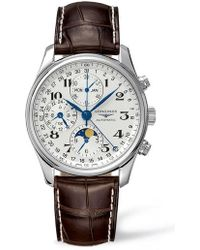 Longines - Master Automatic Chronograph Leather Strap Watch - Lyst