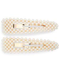 Tasha 2-pack Imitation Pearl Hair Clips, White