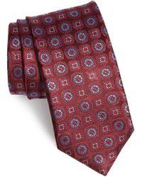Canali Floral Medallion Silk Tie - Red