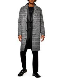 TOPMAN - Hayden Check Print Overcoat - Lyst