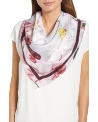4c1a38c694ad4 Lyst - Ted Baker Floral Swirl Split Scarf in Pink