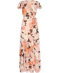 Eliza J Floral Print Faux Wrap Maxi Dress - Pink