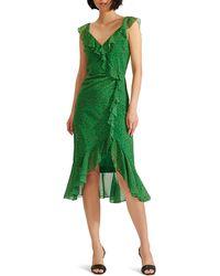 Veronica Beard Amal Ruffle Trim Silk Dress - Green