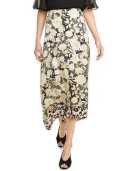 Rebecca Taylor - Gold Leaf Floral Silk Skirt - Lyst