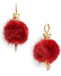 Kate Spade - So Foxy Faux Fur Earrings - Lyst